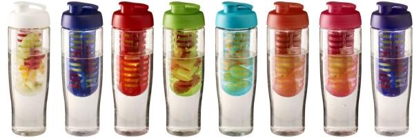 Bidon H2O Tempo® o pojemności 700 ml z wieczkiem zaciskowym z możliwością przyrządzania wody smakowej