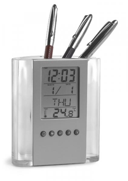 Pojemnik na długopisy, zegar wielofunkcyjny