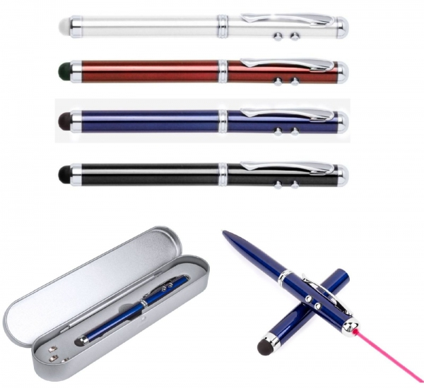 Wskaźnik laserowy, lampka LED, długopis, touch pen